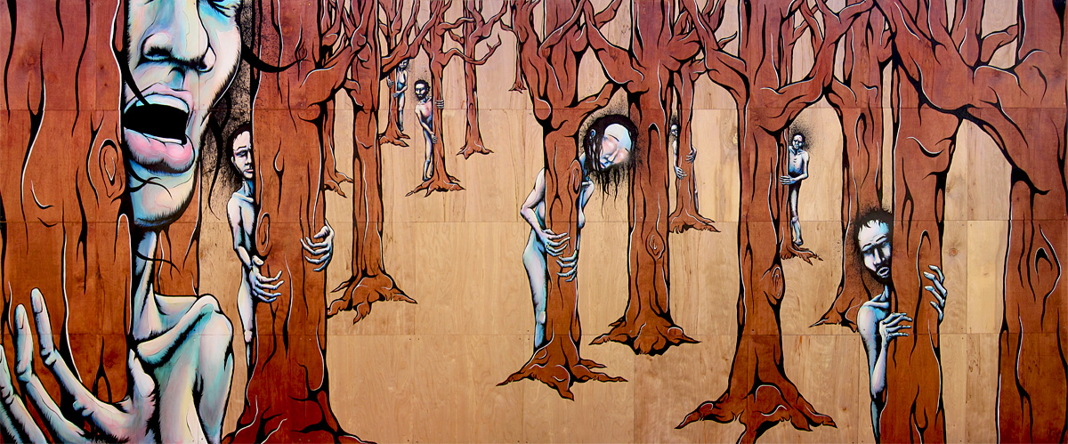 "A Forest 96""x240"" acrylic, enamel and wood stain on 32 modular 24""x24"" panels original painting"