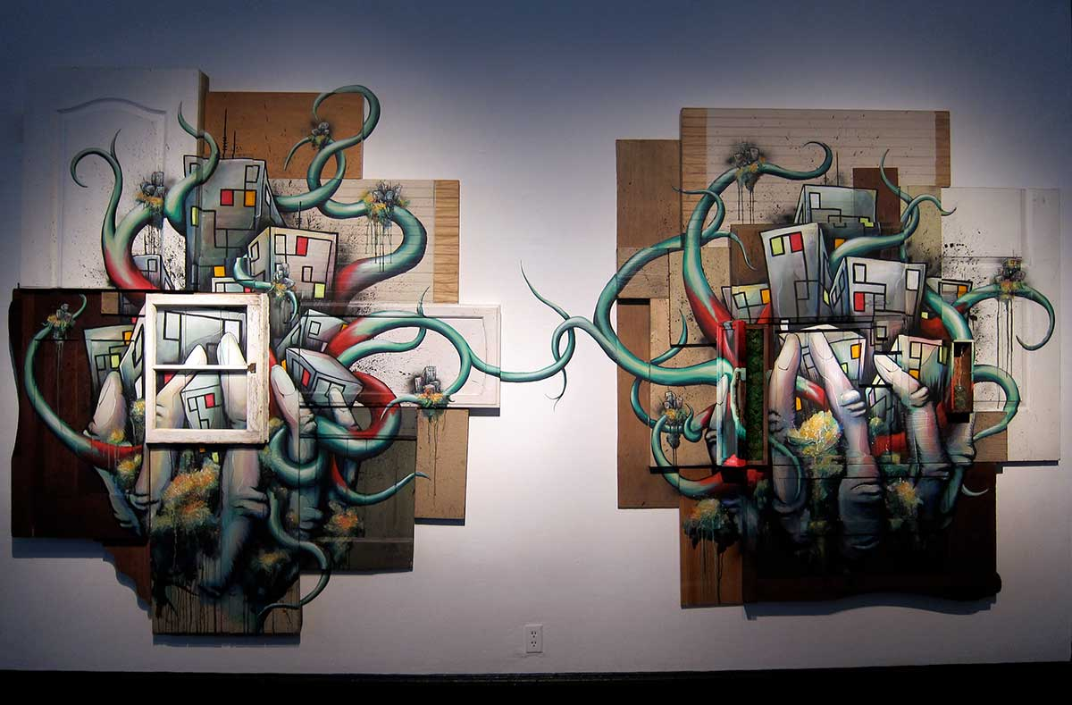 "Left and Right 84""x192"" mixed media assemblage original sculpture"